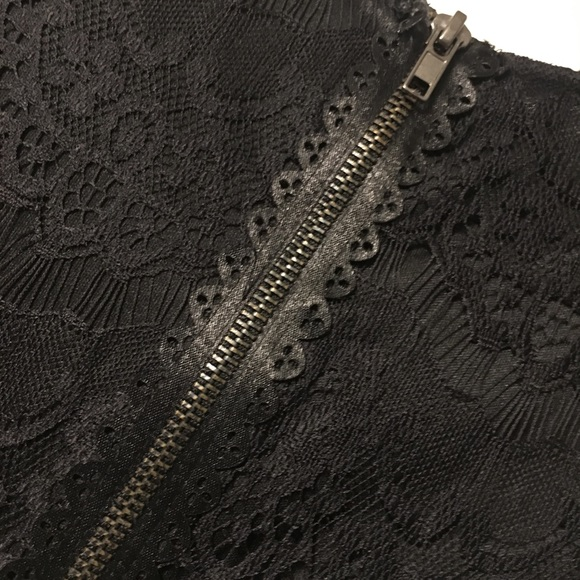 one clothing Dresses & Skirts - Lace black faux leather dress